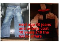 bnwt boys next jeans age 10 years and adams coat £10 the lot