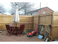 Garden furniture , umbrella, lawnmower and assorted tools, garden project forces sale