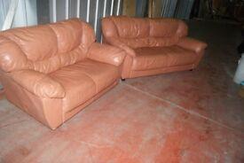 2 X leather Sofas. 1, 3x seats + 1, 2x seats