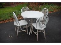 A Fantastic Shabby Chic Hand Painted Round Pedestal Dining Table and 4 Matching Chairs