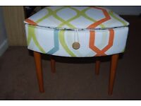 Retro sewing box reupholstered in retro fabric with padded inside for pins etc