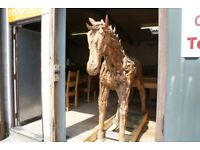 War Horse... Teak Root Horse.180cm Tall. Life Size. Unique Hand Crafted Horse. . Wooden Horse,