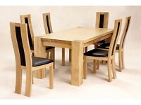 Zeus Solid Oak Large Rectangle Dining Table with Six Chairs - Light Oak Finish
