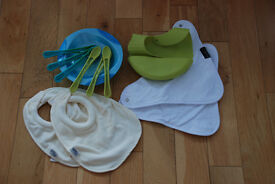 Toddler Weaning Kit (Plate, Spoons and Tommee Tippee / Mum2Mum Bibs ) – 10£