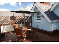 Attractive 2 bed attic flat in quiet but central location with parking and roof terrace.
