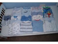 Boys sleepsuits and vests 0-3 months and newborn (Excellent condition)