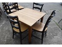 Great for Restaurant Bar Bistro furniture > Solid Oak Tables 90cm sqr two chairs