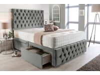 4FT6 Double Grey Plush Memory Foam Divan Bed Set With Tufted Mattress