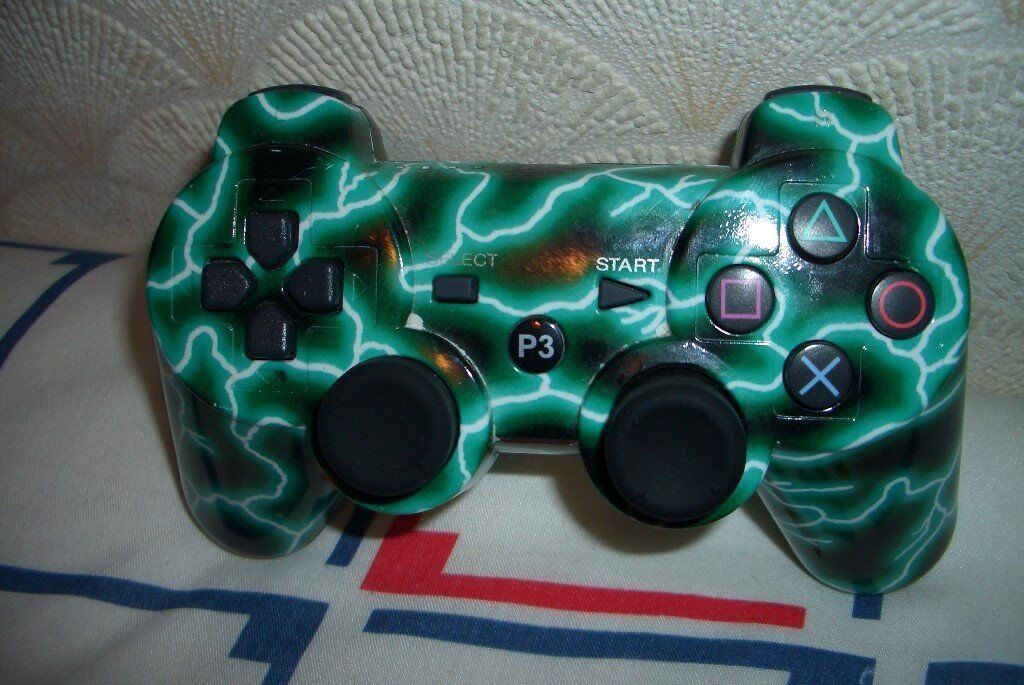 PS3 Playstation 3 Wireless Controller Green Camouflage ( 3rd Party Make )