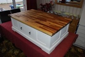 Solid wood coffee table with wood.