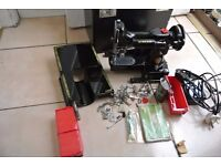 Singer Featherweight 222K RED S Sewing Machine with attachments & instruction manual