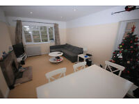Two double bed flat with large living room, kitchen and bath with sep W.C. Off St parking, gardens