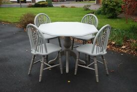 A very Unique Beautiful hand painted Octagon shaped Pedestal Dining Table & 4 matching Chairs.