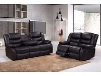 Luxury Rohilda 3&2 Bonded Leather Recliner Sofa Suite with Pull Down Drink Holder