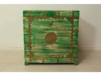 Antique green wood and hand tapped brass embossed storage chest