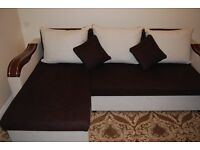 Corner sofa bed - brown and cream - double bed when pull out