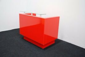 RECEPTION DESK IN RED HIGH GLOSS! GLASS TOP SHELF NEW HIGH QUALITY