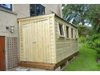 Shed 14'x6' high quality pressure treated reverse pent with 4 windows and LH double doors+metal roof
