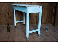SCHOOL desk with added castor wheels table paint upcycle vintage 1950s 1960s gplanera