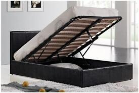 Single ottoman brown leather bed with mattress for sale