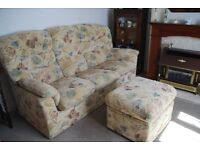 G Plan - Malvern Style High Back 3 seater Sofa and Foot Stool - Fireproof multi colour