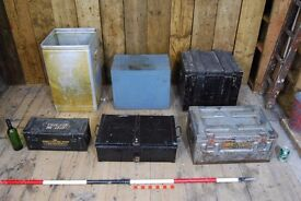 Workboxes, display patina TV stand, props, decorative salvage hunters mid mod retro vintage gplanera