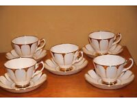 5 Vintage Royal Vale White and Gold Bone China Cups and Saucers - perfect for a wedding