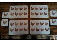 Set of Four Place mat and coaster set