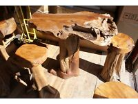 Teak Root High Table and Two Stools. Unique Hand Made Teak Root Furniture