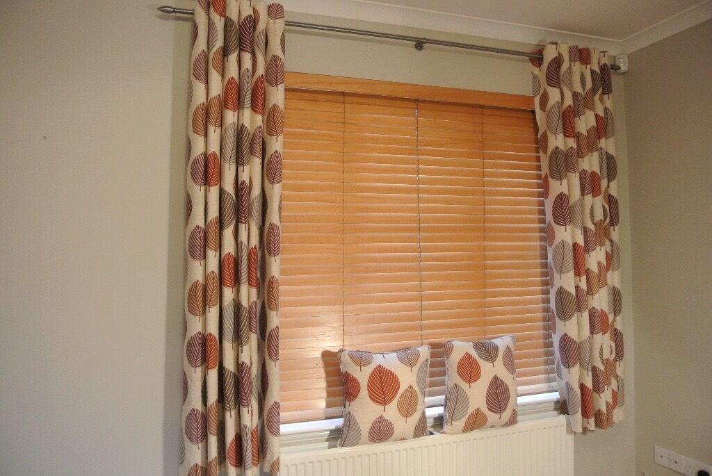 Ex Dunelm Eyelet Curtains Regan Terracotta Lined Matching Cushions