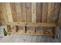 BENCH / hall storage industrial reclaimed wood rustic salvage hunters shoe tidy 5 hole gplanera