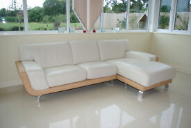 Stylish High Quality Italian Leather Chaise Sofa and Matching Footstool