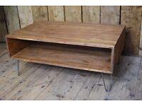 Coffee table / TV AV stand industrial hairpin steel reclaimed wood box mid mod salvage gplanera