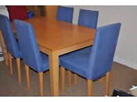 Beech veneer dining table and 6 chairs