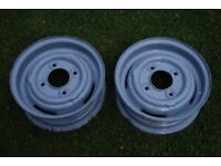 "Two 10"" mini wheel rims for trailers"