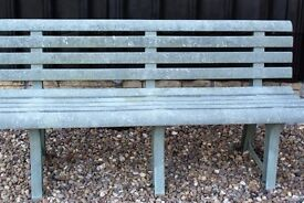 GREEN WEATHERPROOF STURDY PLASTIC GARDEN BENCH SEATS 3, DISMANTLES, CAN DELIVER