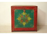 hand painted Retro cube vintage wooden Indian chest storage trunk