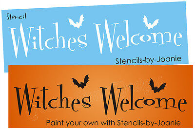 Halloween Font Stencils (Joanie Halloween Stencil Witches Welcome Whimsey font Bats DIY Craft Art Signs)