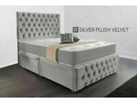 Chesterfield Divan bed Frame Available For Same Day Delivery With orthopaedic Mattress