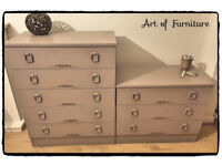 Two Matching Wooden Chests of Drawers Hand Painted in ANNIE SLOAN Coco Chalk Paint.
