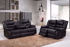 Rennes 3+2 Recliner Sofa with Cupholder Bonded Leather black or brown BRAND NEW 12 MONTH WARRANTY