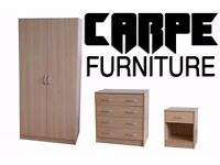 Badalona 3 piece Beech Wardrobe, Chest of drawers & Bedside Table