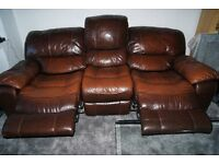 HARVEYS SET OF 2 BROWN THREE SEATER LEATHER SOFAS WITH ELECTRIC RECLINERS