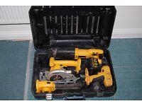 DEWALT 18 volt Sabre saw, drill, rotary cross cut saw, torch, charger.