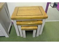 Oak Furniture Land Kemble Rustic Solid Oak and Painted Nest Of Tables