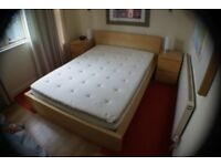 IKEA Bed Frame with Memory Foam Mattress and latex base topper plus bedside drawer units