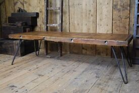 Industrial dark finish coffee table salvage hunters reclaimed pine solid steel loft mill gplanera