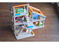 Plan Toy Chalet modern scandi Wooden Dolls House with Furniture, rare
