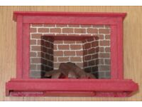 Sylvanian Families Vintage Fireplace Red Brick Lights Up 1985 Epoch WORKING