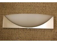 Wall lights(4) in chrome satin with white elliptical frosted glass shades, halogen bulbs, uplighting